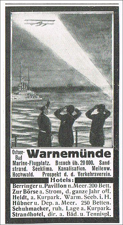 Warnem nde werbung 1914 hotels strand meer werbeanzeige for Warnemunde strand hotel