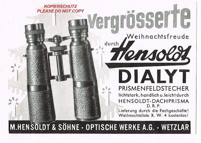 fernglas weihnachten hensoldt dialyt dachprisma reklame 1937 feldstecher wetzlar ebay. Black Bedroom Furniture Sets. Home Design Ideas