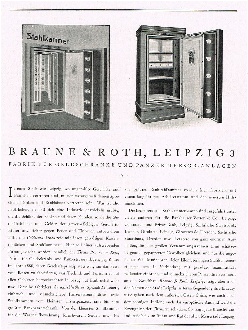 fabrik geldschrank tresor panzerschrank braune roth leipzig 1923 reklame ad ebay. Black Bedroom Furniture Sets. Home Design Ideas