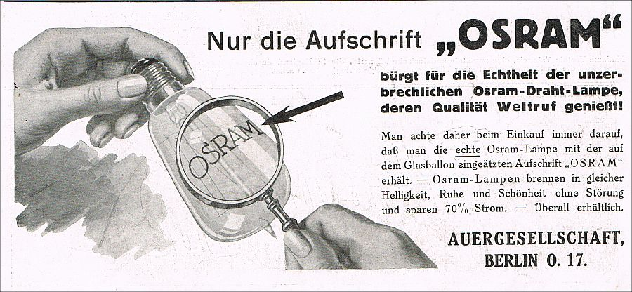 glasballon osram gl hbirne draht lampe berlin 1912 reklame. Black Bedroom Furniture Sets. Home Design Ideas