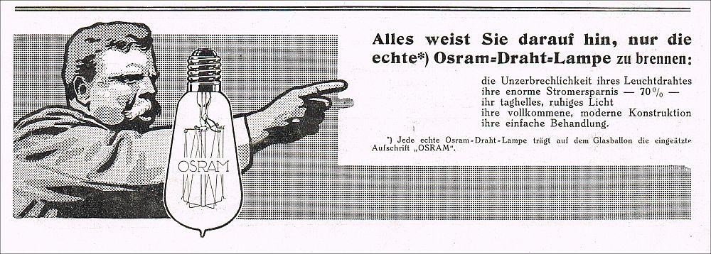 reklame osram draht lampe gl hbirne birne 1912 werbung. Black Bedroom Furniture Sets. Home Design Ideas