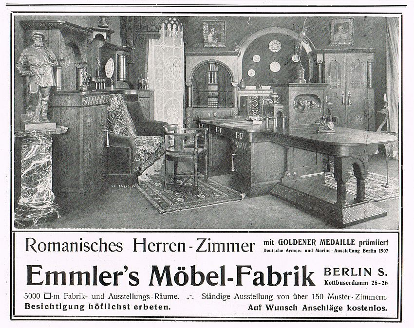 romanisches herrenzimmer emmler m bel fabrik berlin 1910 reklame werbung adverti ebay. Black Bedroom Furniture Sets. Home Design Ideas