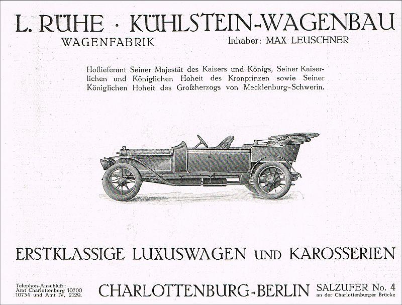 luxuswagen wagenfabrik auto pkw kfz k hlstein wagenbau berlin leuschner 1910 ebay. Black Bedroom Furniture Sets. Home Design Ideas