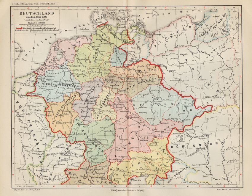 Karte Landkarte Deutschland Um 1000 Friesland Sachsen Bohmen