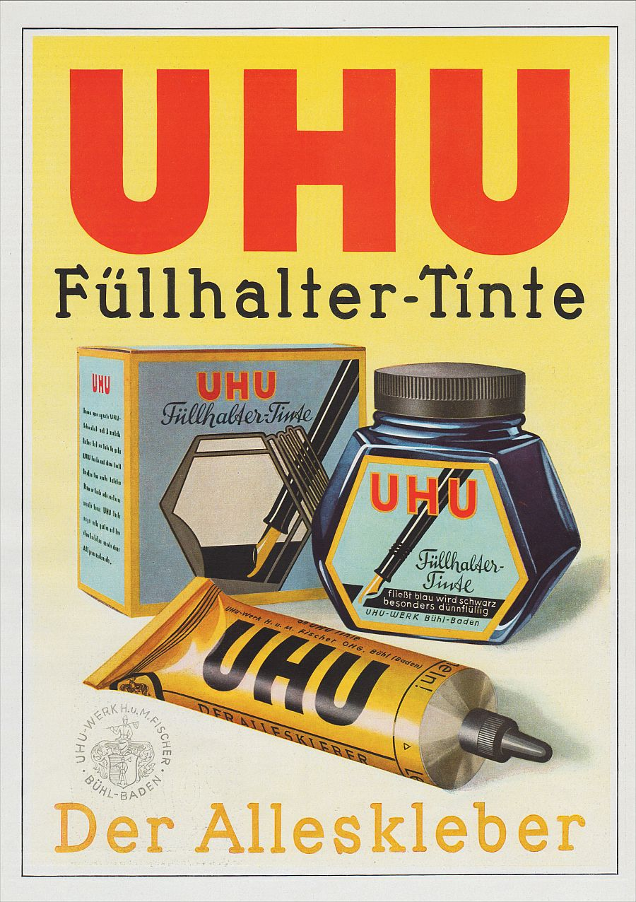 b hl werbung 1941 xxl f llhalter tinte uhu werk alleskleber reklame a ebay. Black Bedroom Furniture Sets. Home Design Ideas