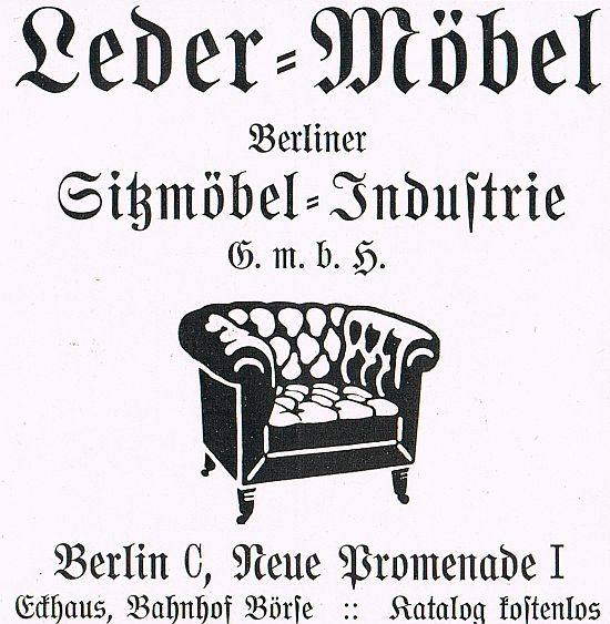 lederm bel m bel sitzm bel industrie berlin neue promenade reklame 1913 werbung ebay. Black Bedroom Furniture Sets. Home Design Ideas