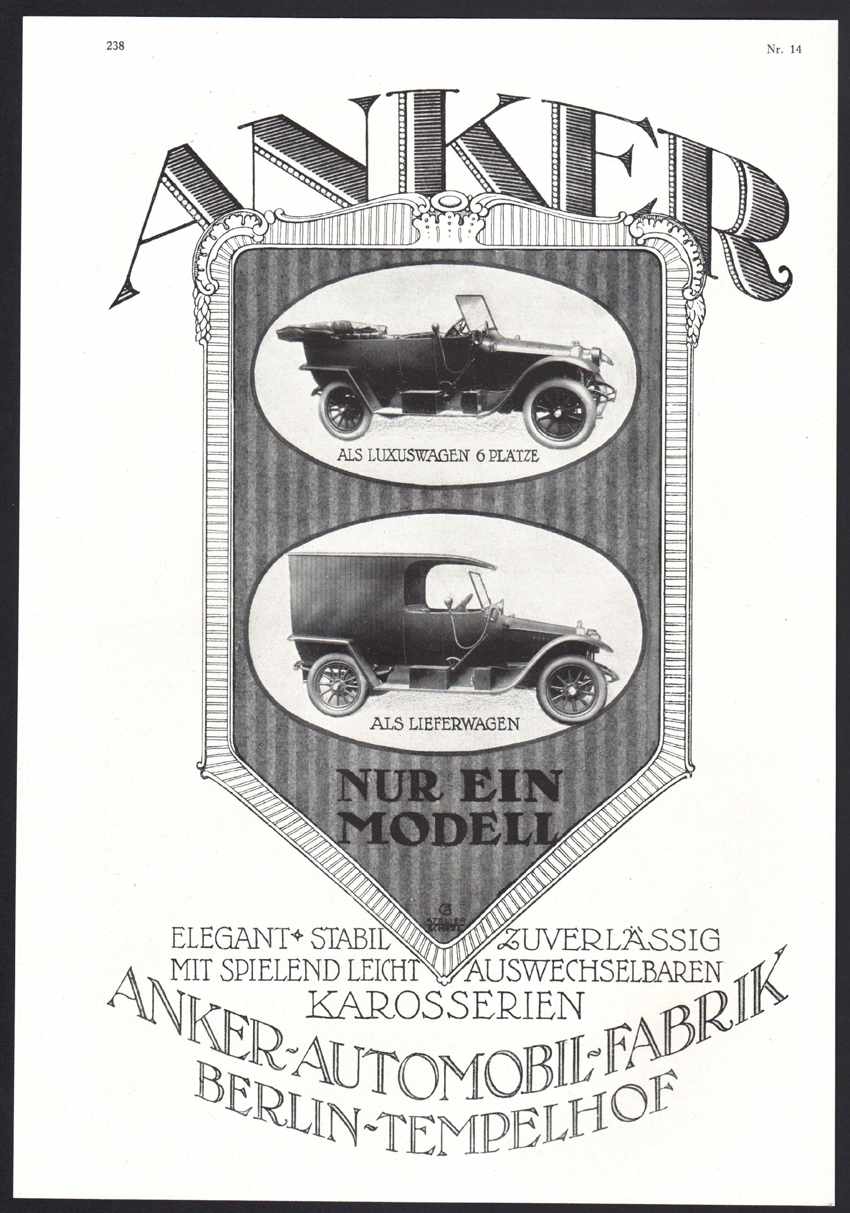 tempelhof werbung 1919 anker automobile fabrik oldtimer car voiture reklame c ebay. Black Bedroom Furniture Sets. Home Design Ideas